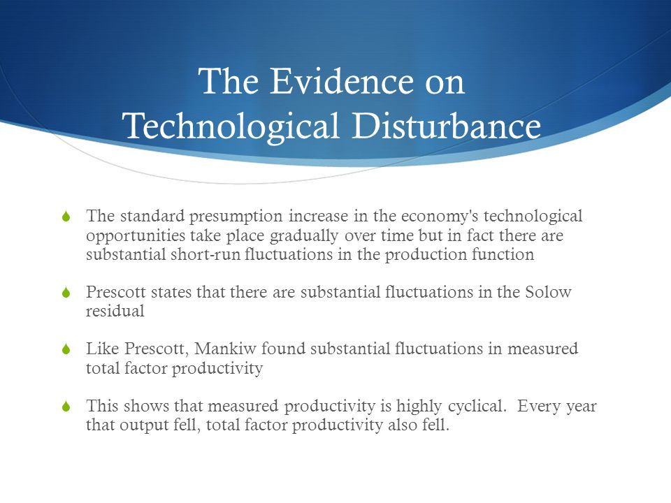 The Evidence on Technological Disturbances