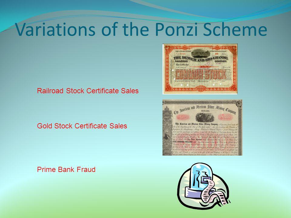 Variations of the Ponzi Scheme