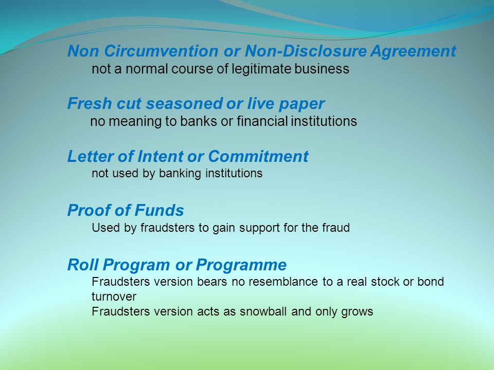 Non Circumvention or Non-Disclosure Agreement