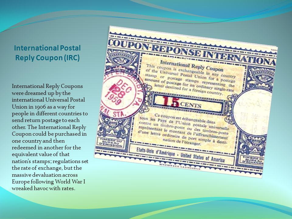 International Postal Reply Coupon (IRC)