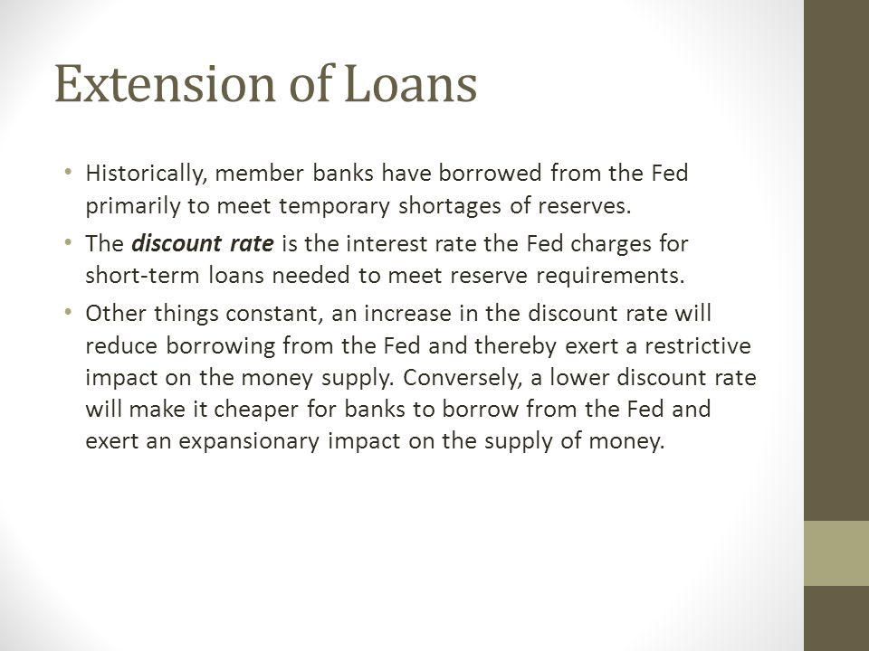 Extension of Loans Historically, member banks have borrowed from the Fed primarily to meet temporary shortages of reserves.