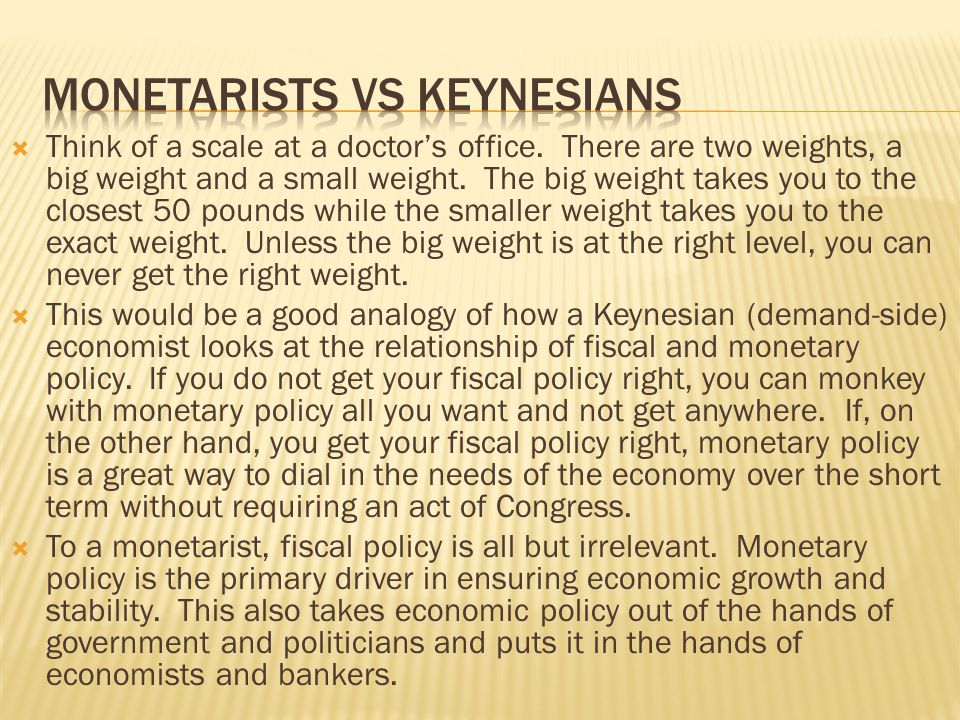 Monetarists vs Keynesians