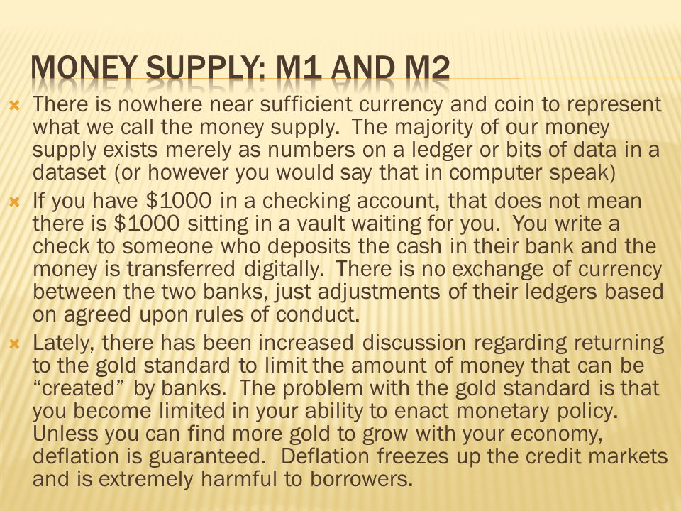 Money supply: M1 and M2