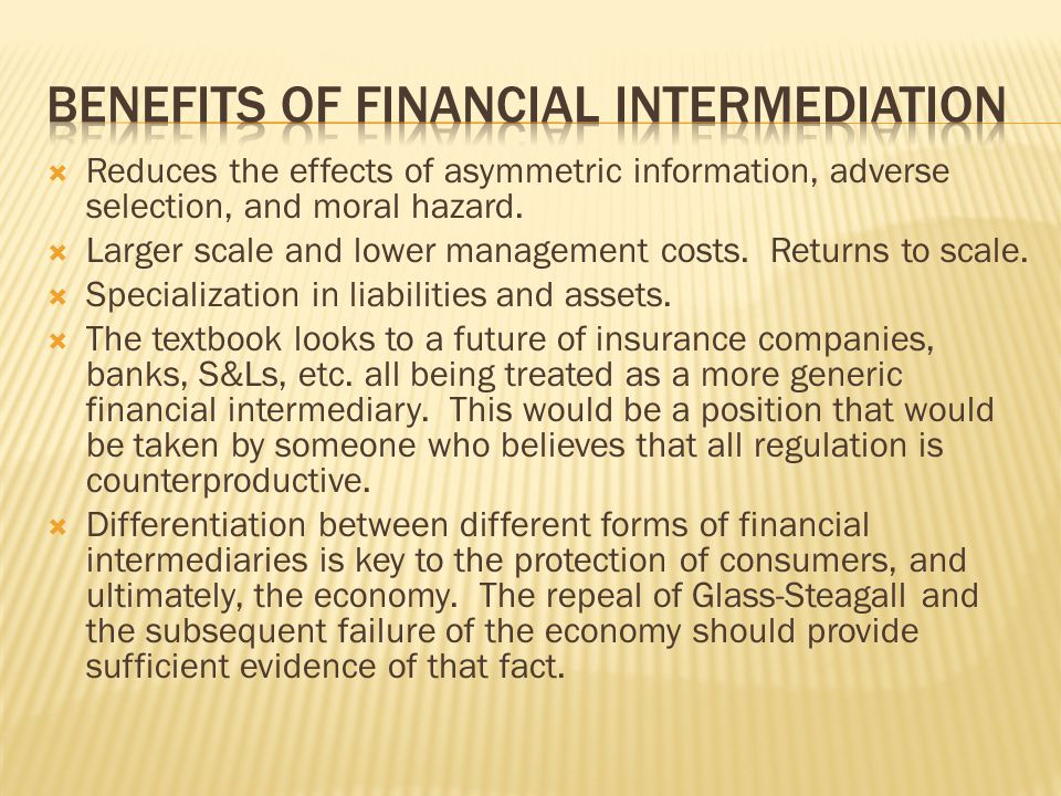 Benefits of financial intermediation
