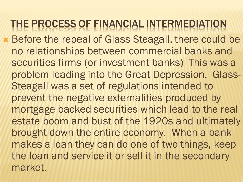 The process of financial intermediation