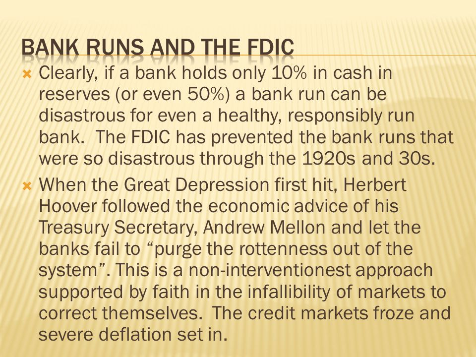 Bank runs and the FDIC