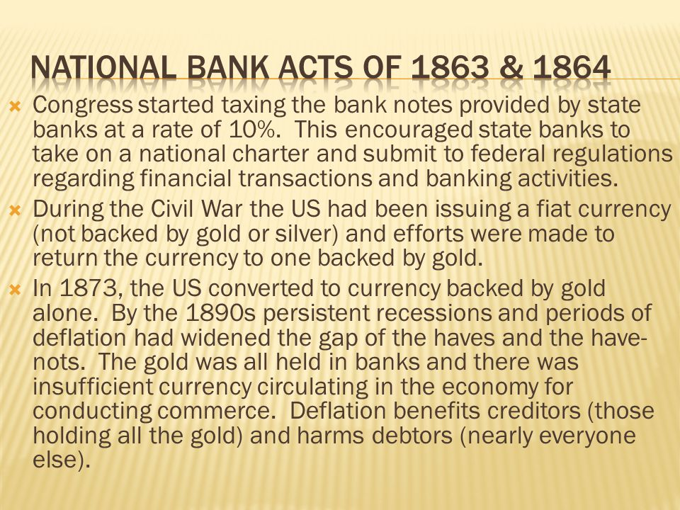 National bank acts of 1863 & 1864