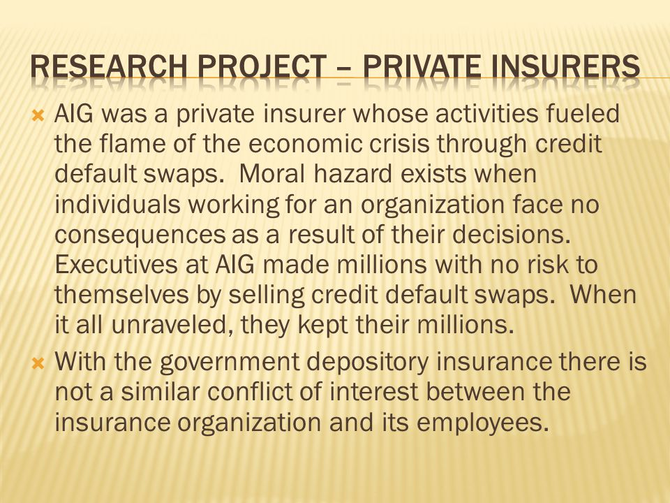 Research project – private insurers