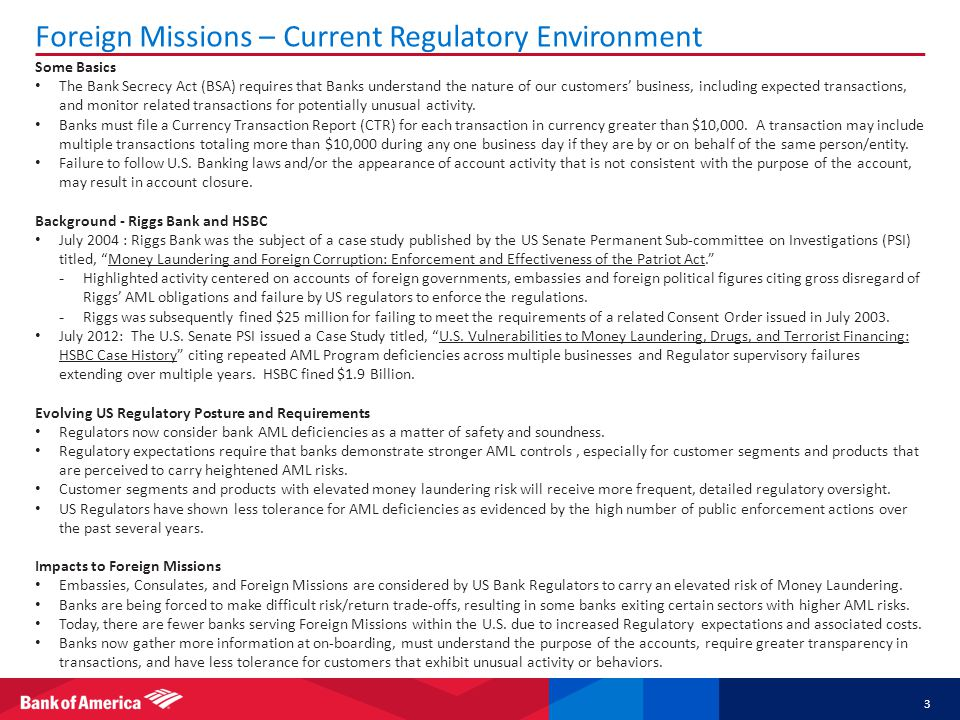Foreign Missions – Current Regulatory Environment
