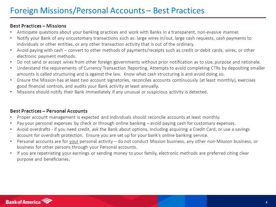 Foreign Missions/Personal Accounts – Best Practices