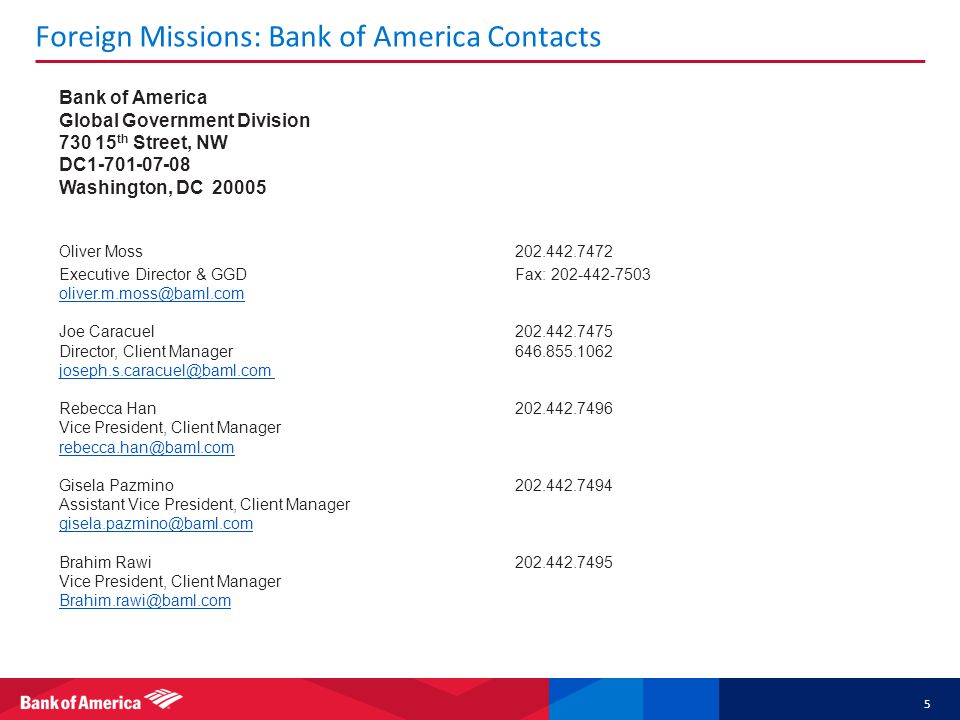 Foreign Missions: Bank of America Contacts