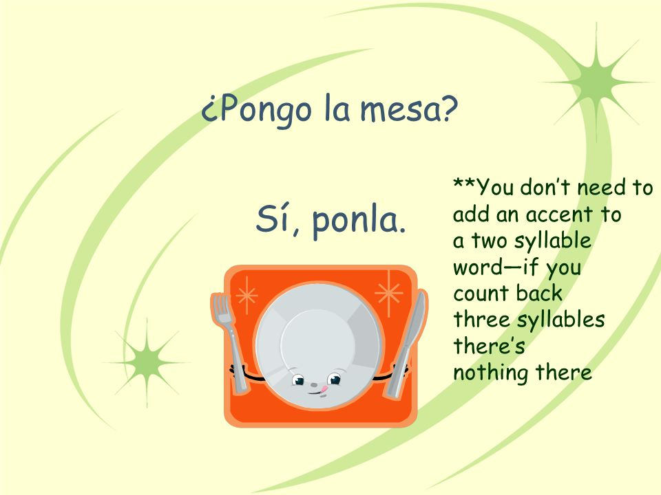 Sí, ponla. ¿Pongo la mesa **You don't need to add an accent to
