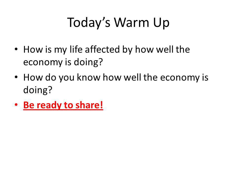 Today's Warm Up How is my life affected by how well the economy is doing How do you know how well the economy is doing