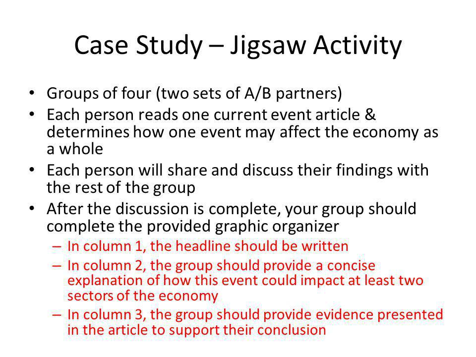 Case Study – Jigsaw Activity