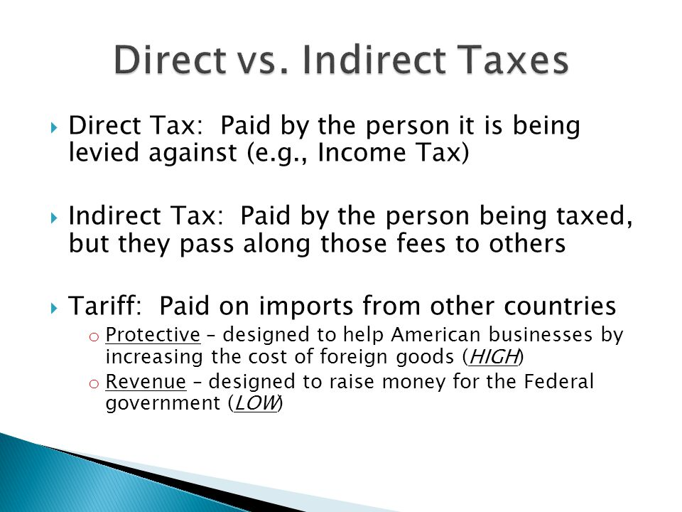 Direct vs. Indirect Taxes