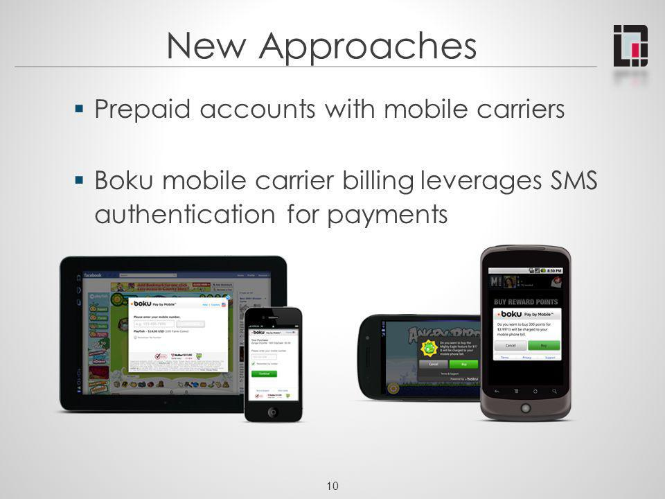 New Approaches Prepaid accounts with mobile carriers