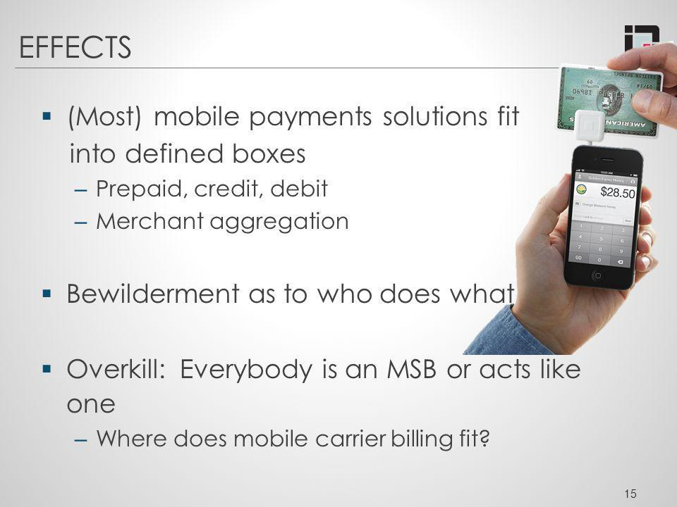 EFFECTS (Most) mobile payments solutions fit into defined boxes