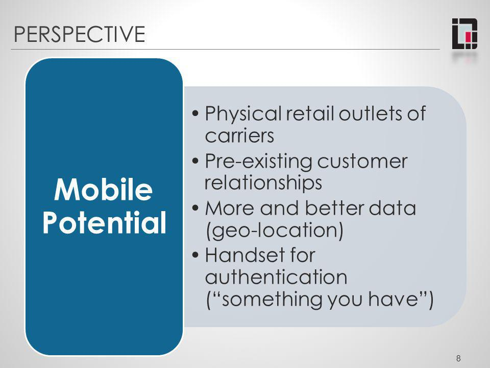 Mobile Potential PERSPECTIVE Physical retail outlets of carriers