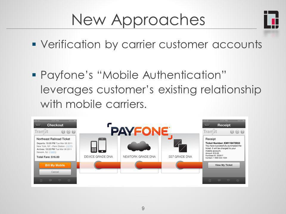 New Approaches Verification by carrier customer accounts