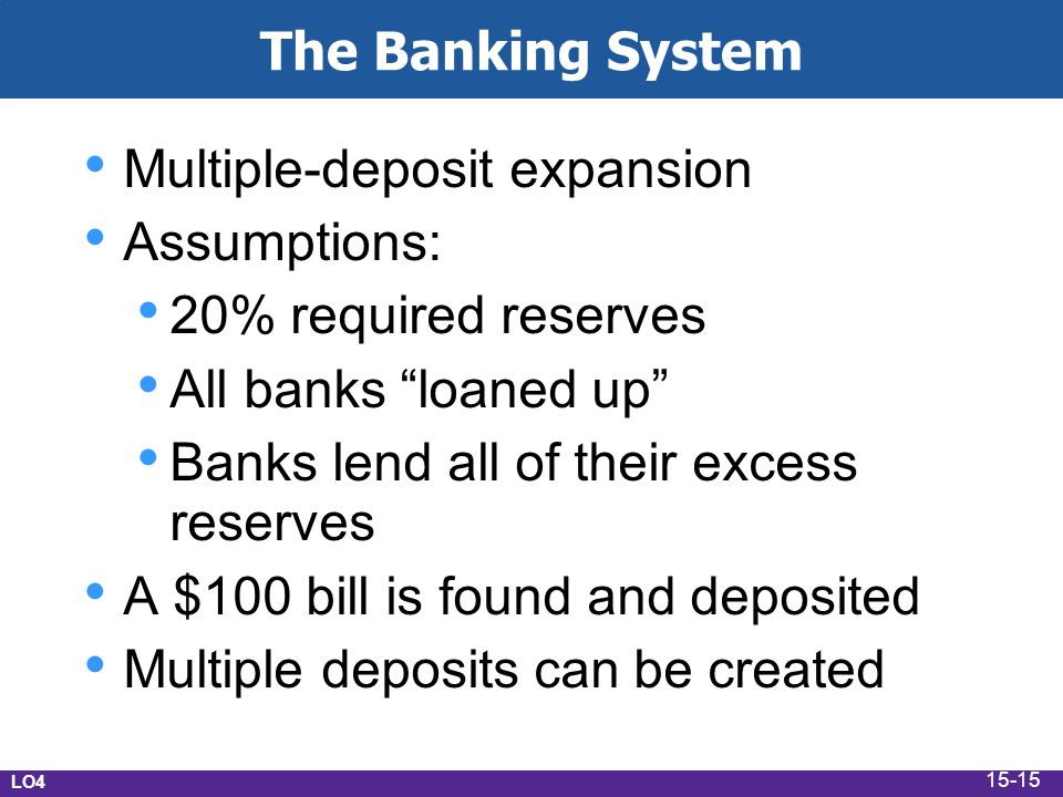 Multiple-deposit expansion Assumptions: 20% required reserves