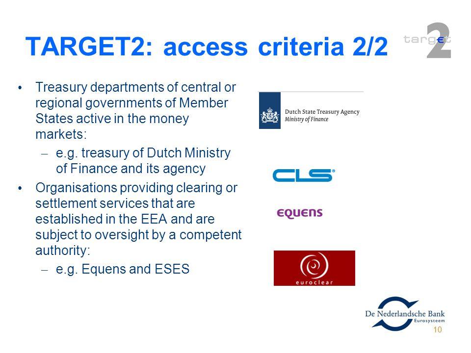 TARGET2: access criteria 2/2