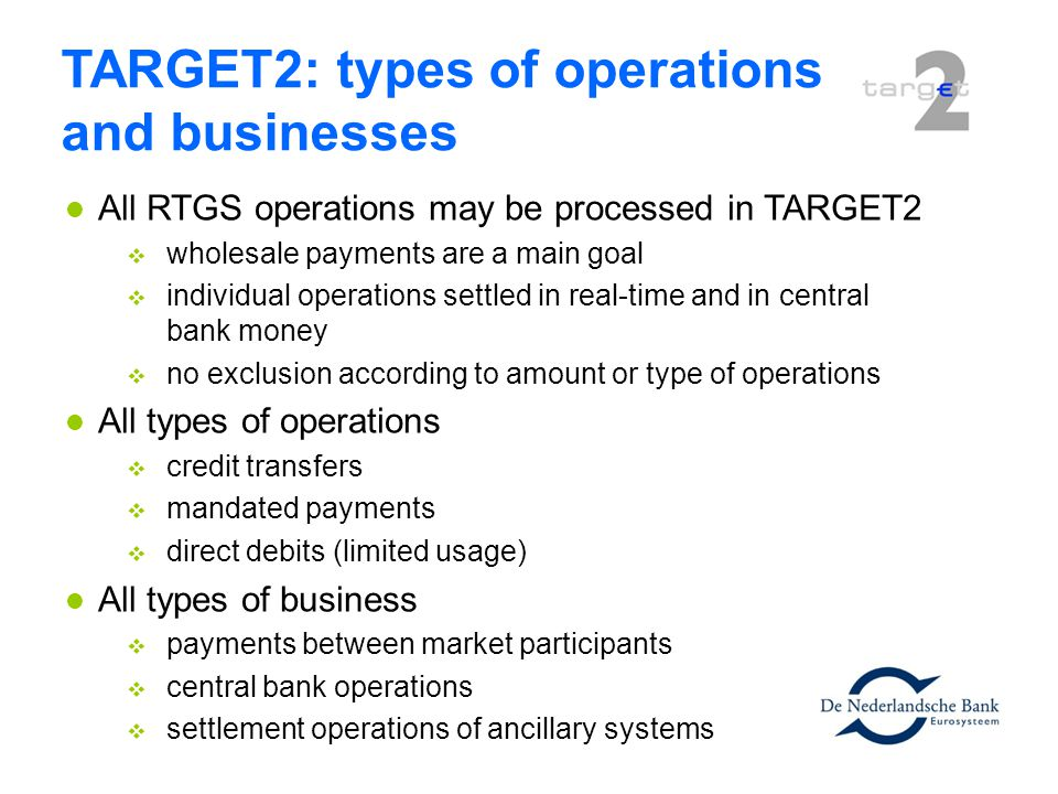 TARGET2: types of operations and businesses