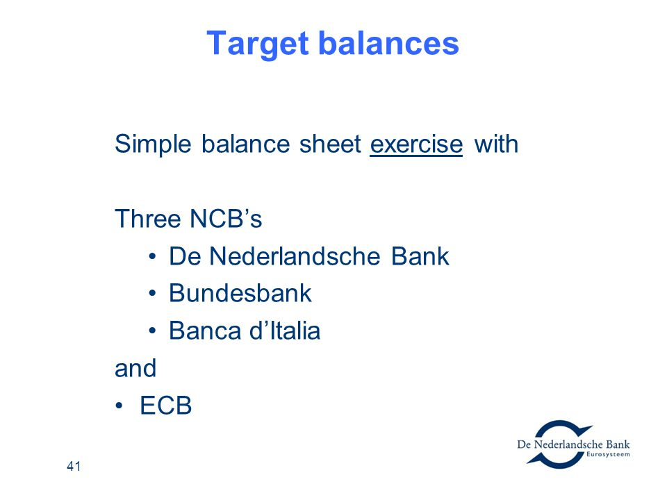 Target balances Simple balance sheet exercise with Three NCB's
