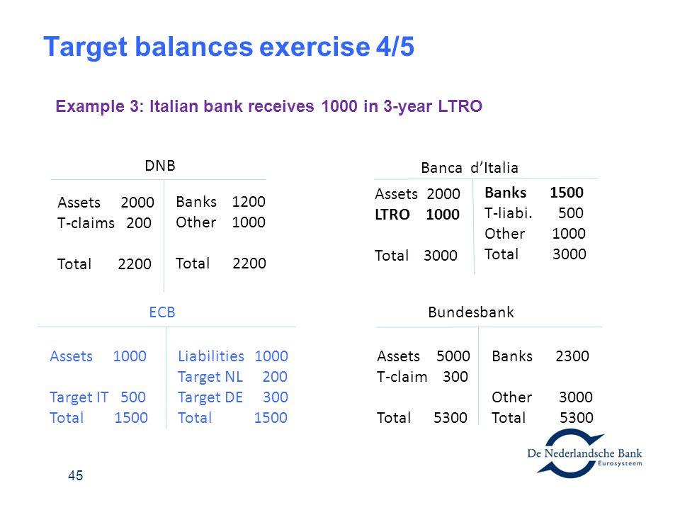 Target balances exercise 4/5