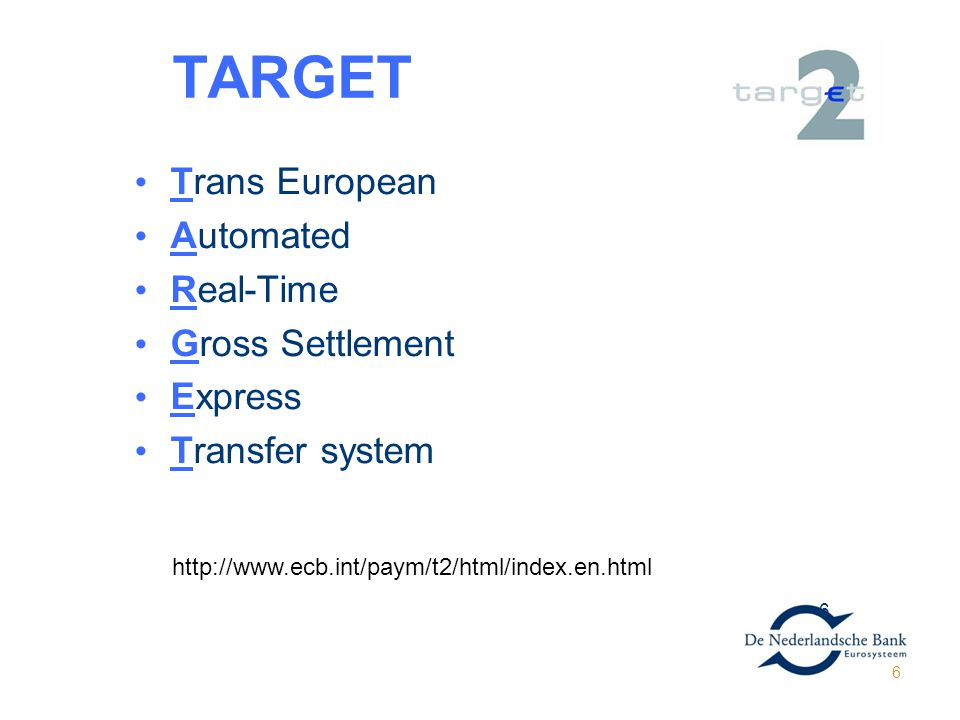 TARGETGET2 Trans European Automated Real-Time Gross Settlement Express