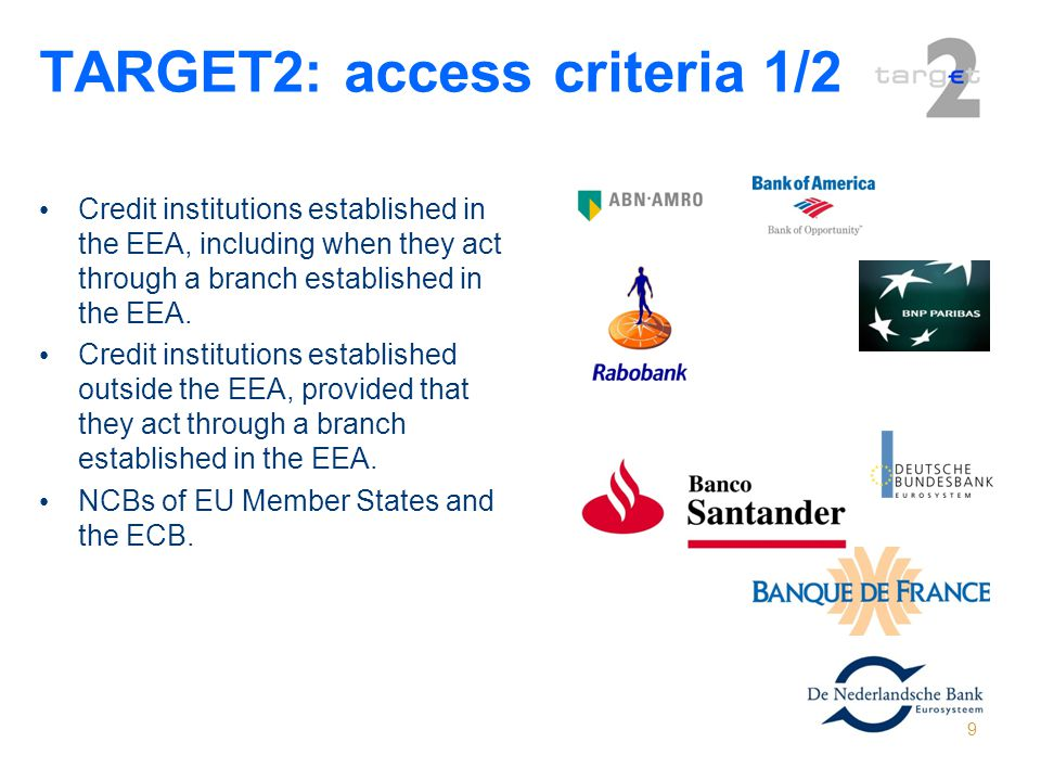 TARGET2: access criteria 1/2