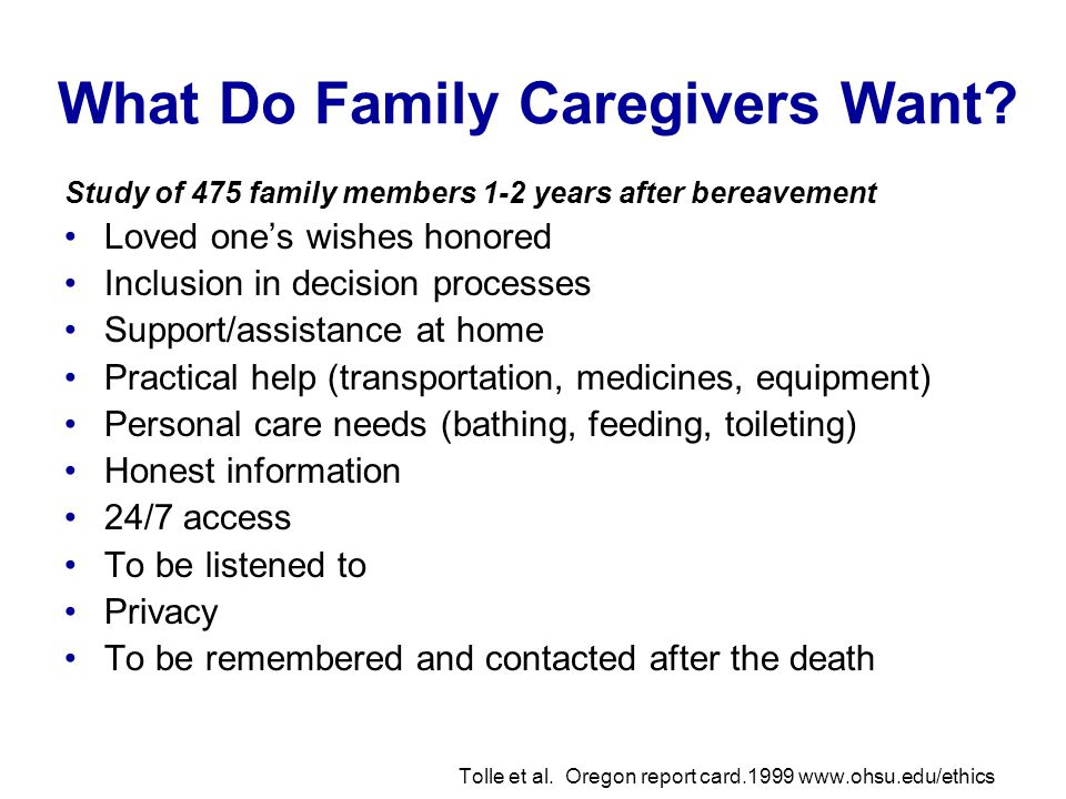 What Do Family Caregivers Want