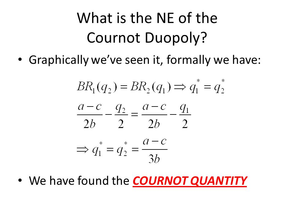 What is the NE of the Cournot Duopoly