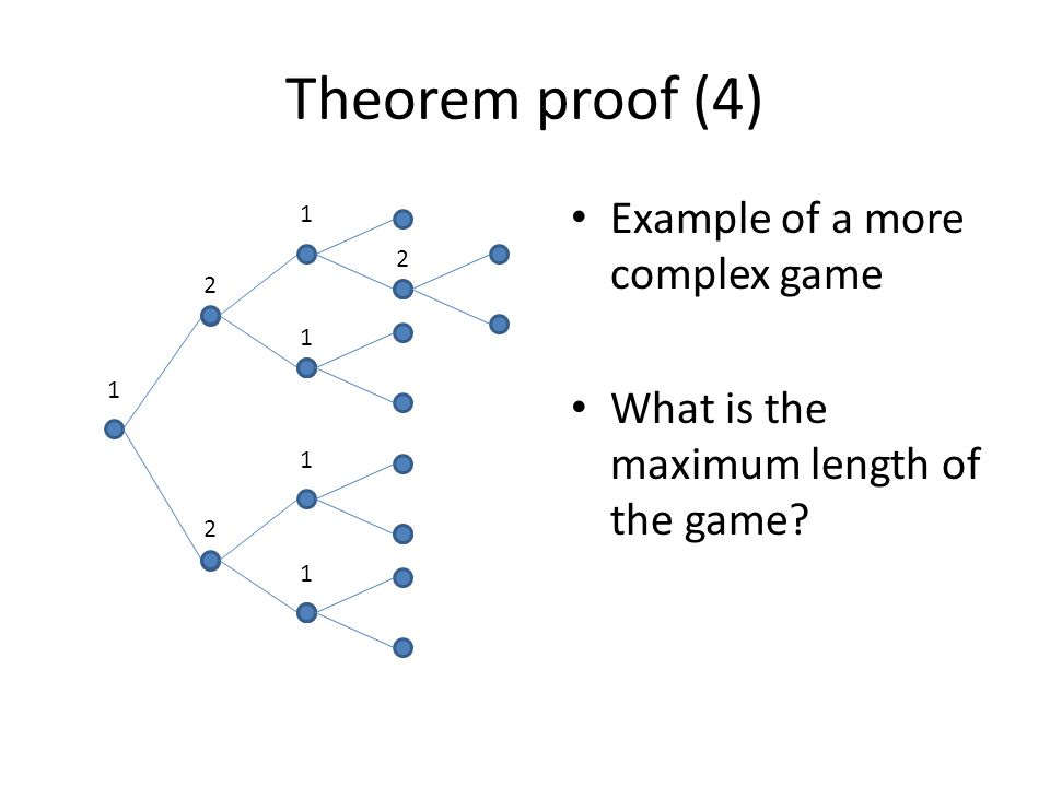 Theorem proof (4) Example of a more complex game