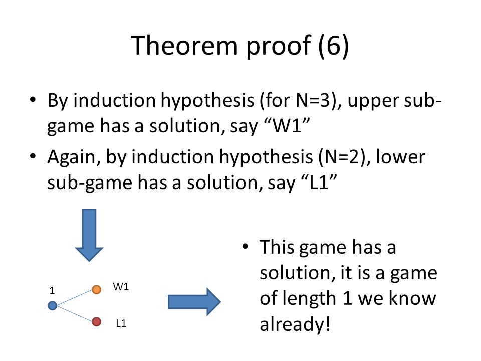 Theorem proof (6) By induction hypothesis (for N=3), upper sub-game has a solution, say W1