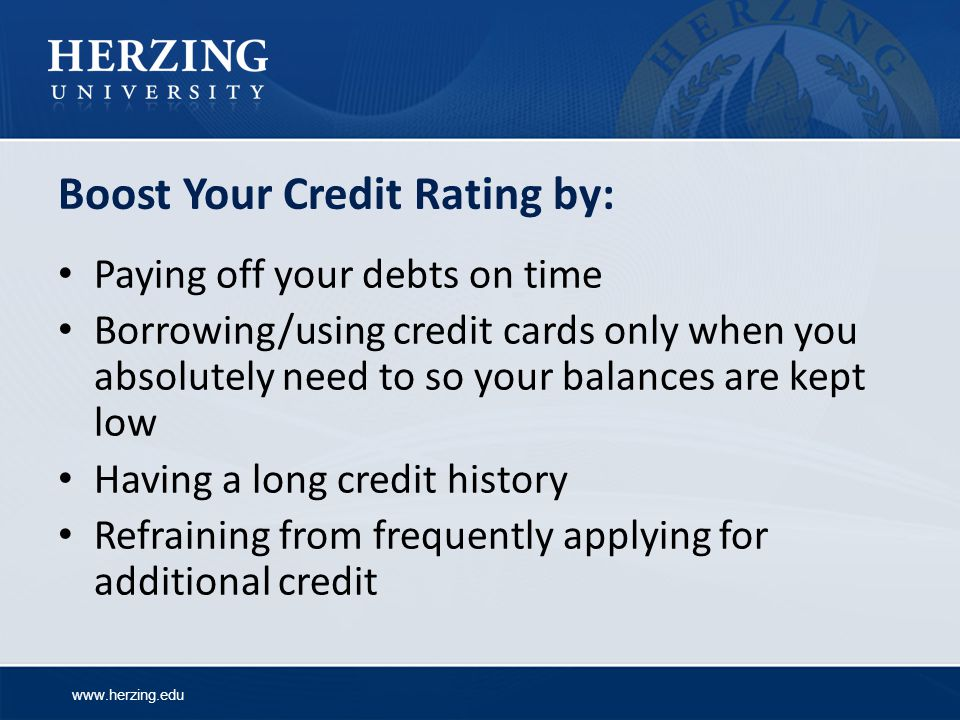 Boost Your Credit Rating by:
