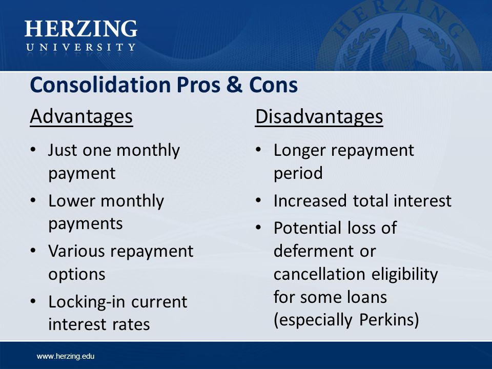 Consolidation Pros & Cons