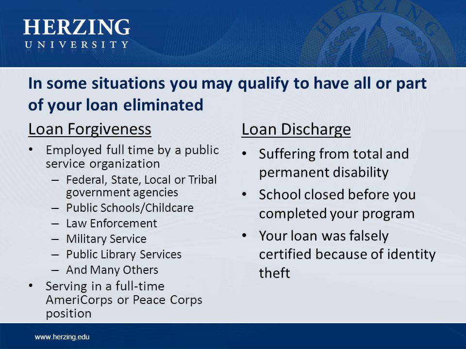 In some situations you may qualify to have all or part of your loan eliminated