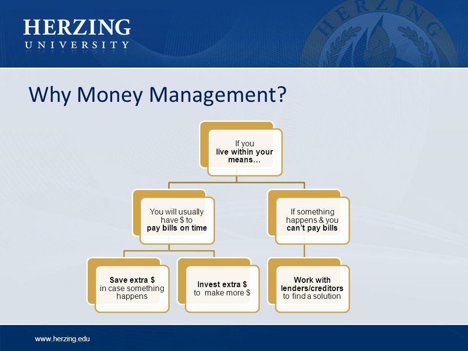 Why Money Management If you live within your means…
