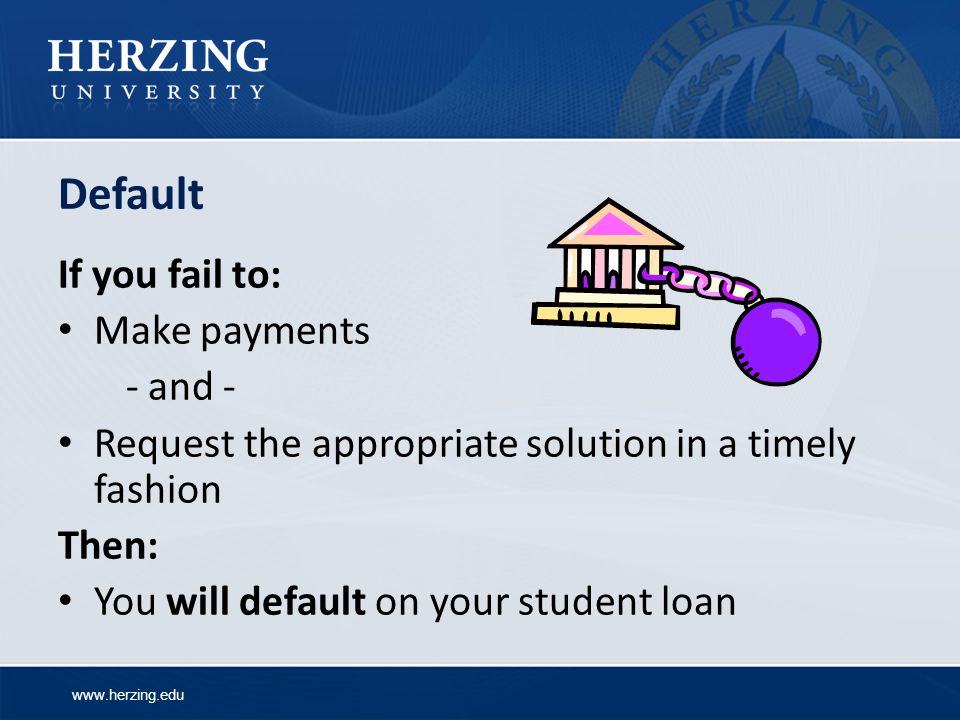 Default If you fail to: Make payments - and -