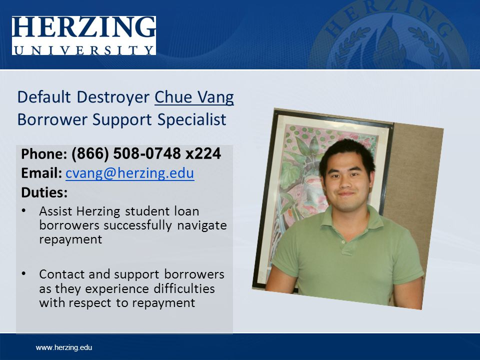 Default Destroyer Chue Vang Borrower Support Specialist