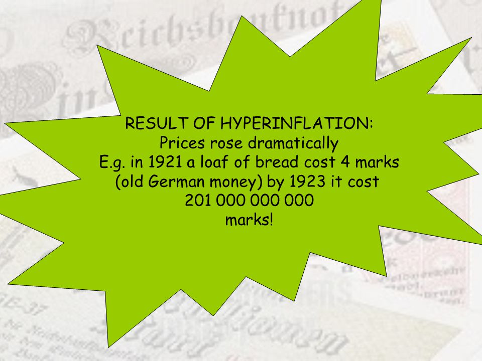 RESULT OF HYPERINFLATION: Prices rose dramatically