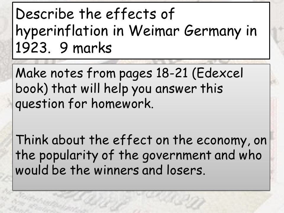 Describe the effects of hyperinflation in Weimar Germany in 1923
