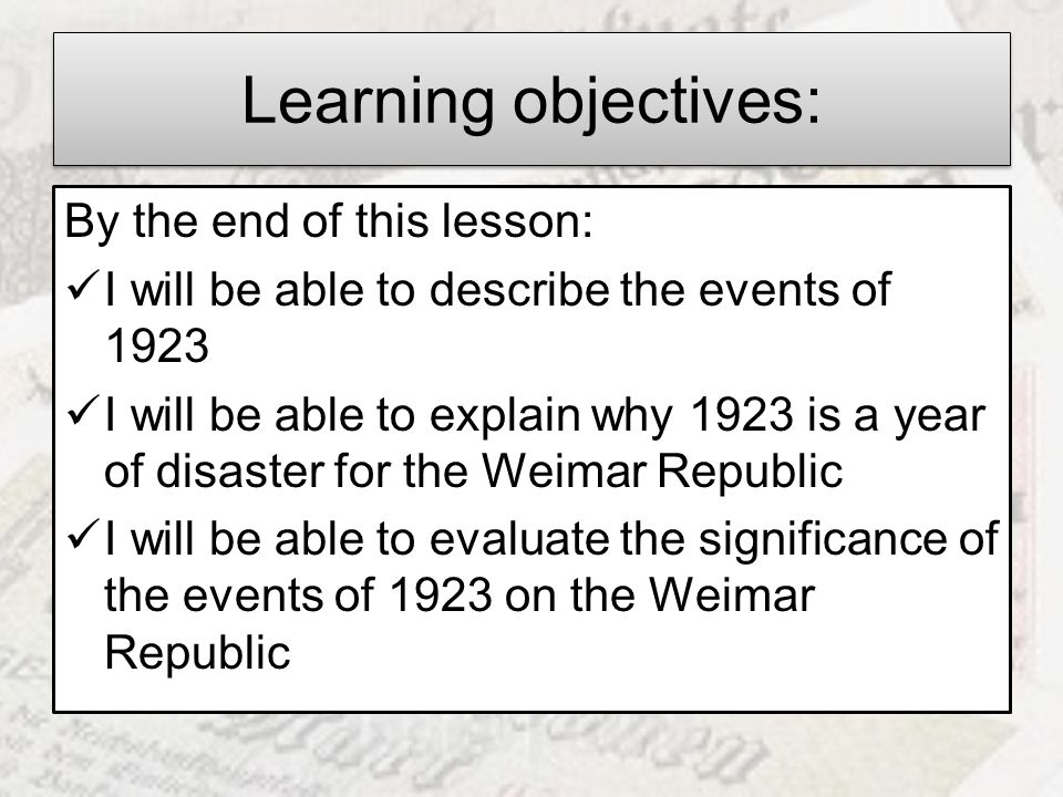 Learning objectives: By the end of this lesson: