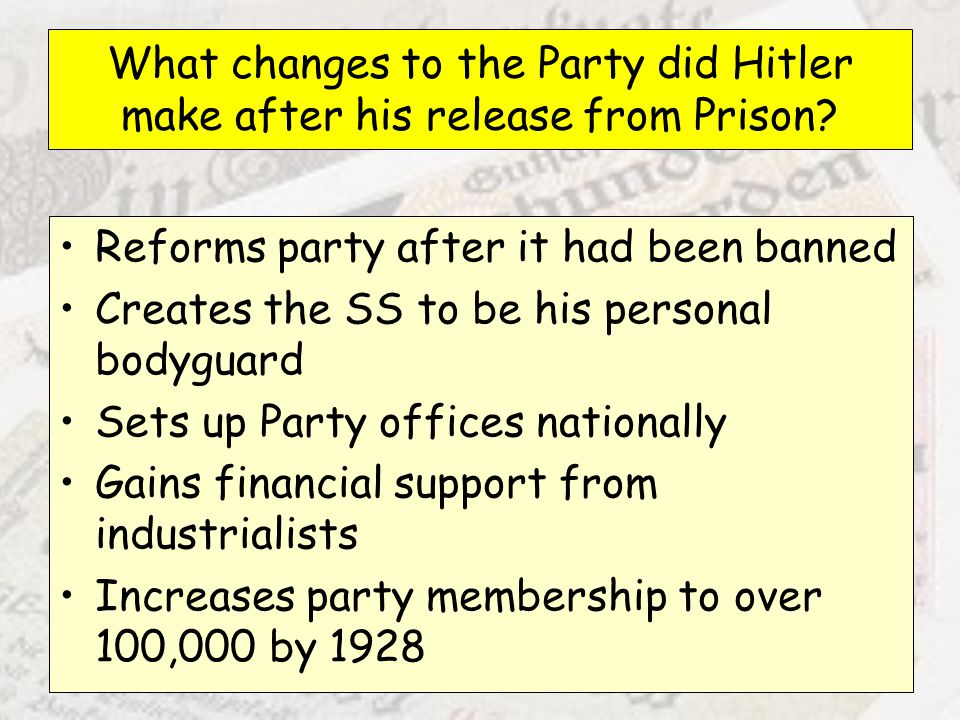 What changes to the Party did Hitler make after his release from Prison