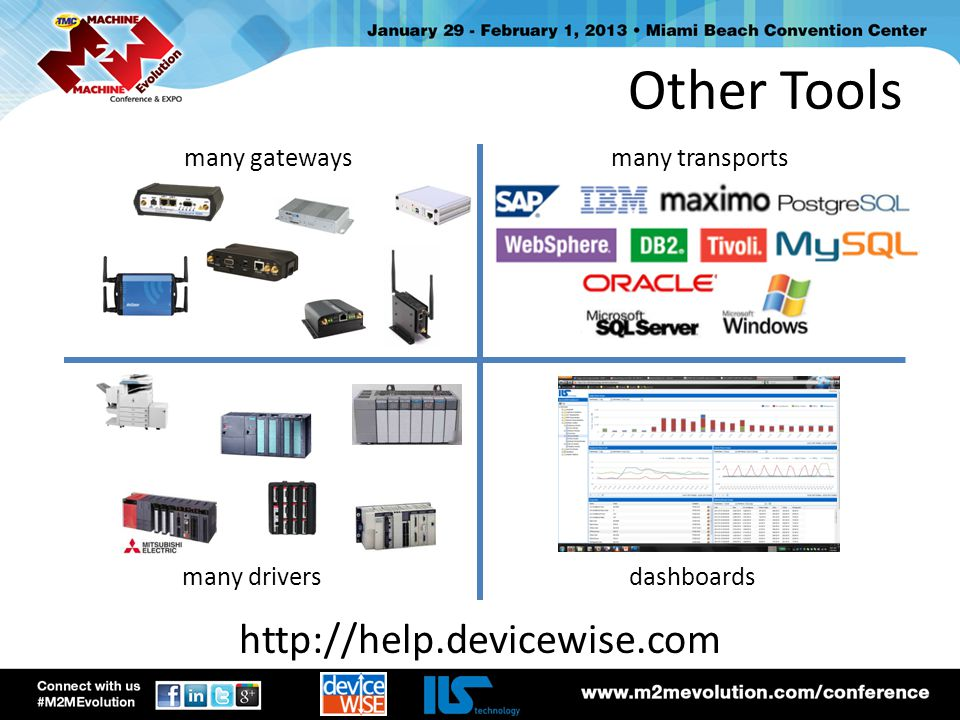 Other Tools http://help.devicewise.com many gateways many transports