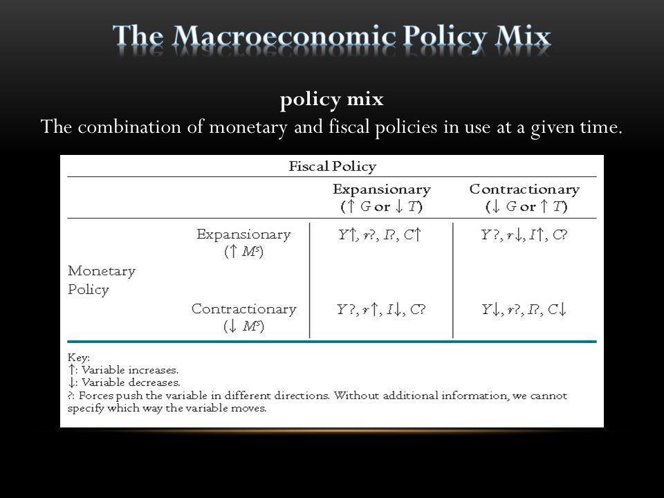 The Macroeconomic Policy Mix