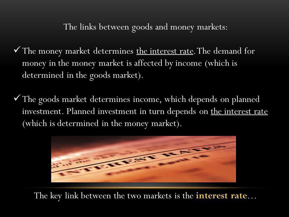 The links between goods and money markets: