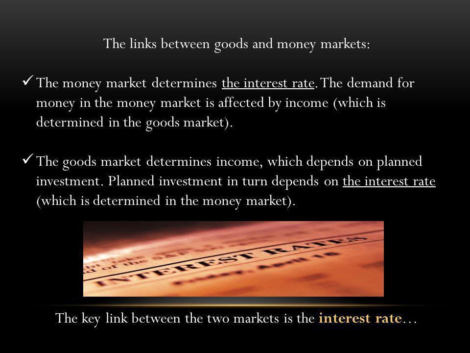 The links between goods and money markets: