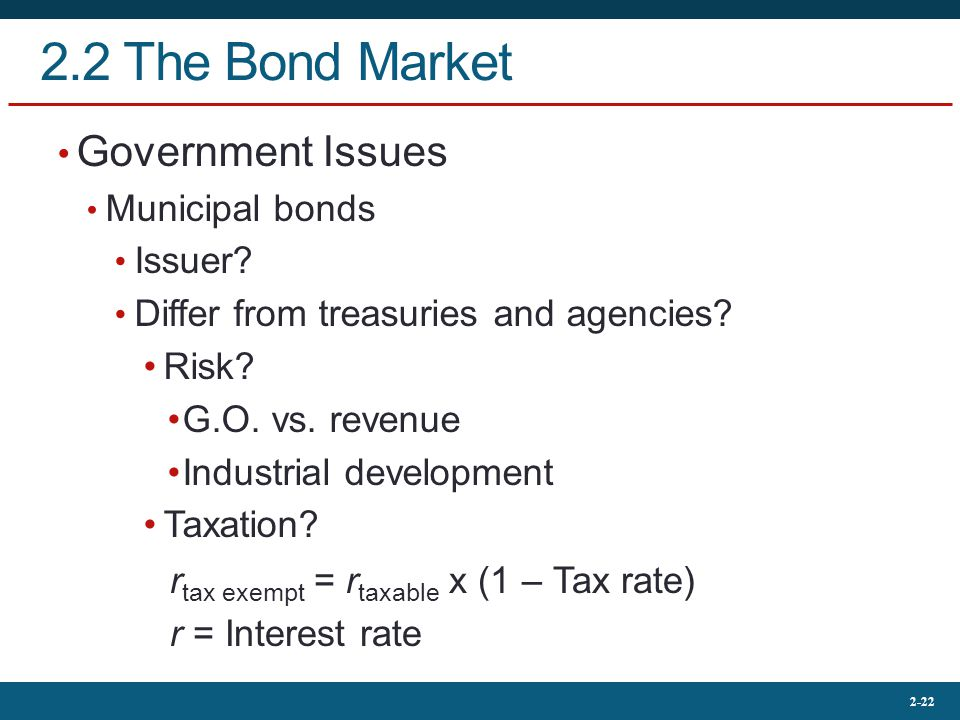 2.2 The Bond Market Government Issues Municipal bonds Issuer