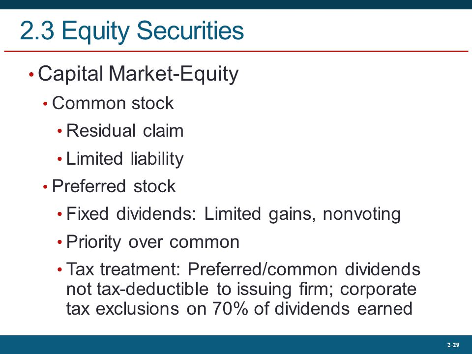 2.3 Equity Securities Capital Market-Equity Common stock